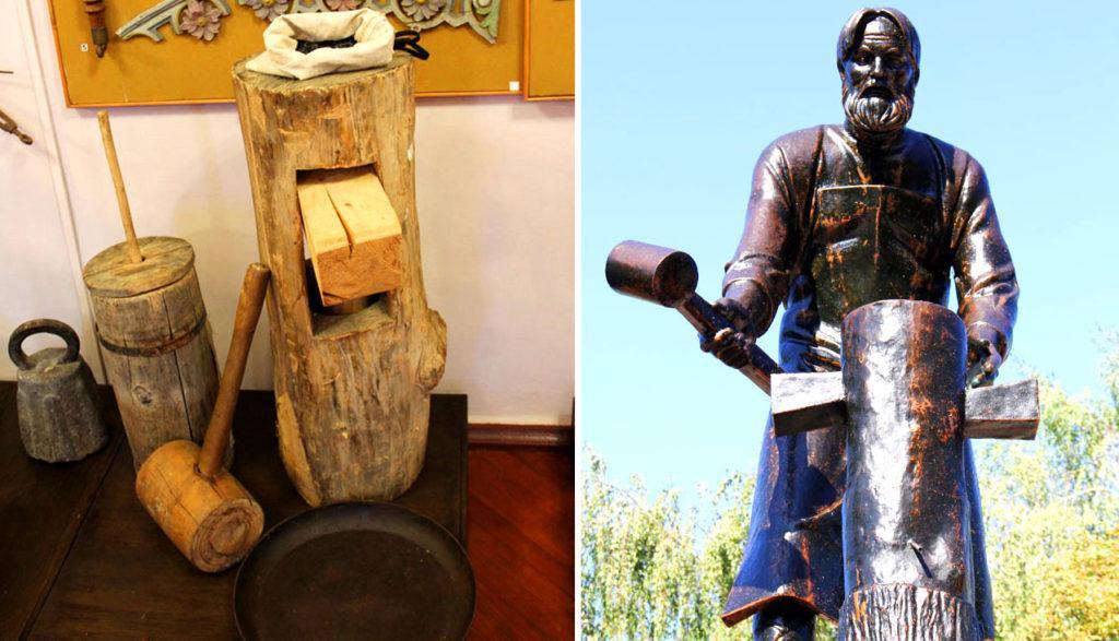 Ручная маслобойка, которую придумал Бокарев, и памятник изобретателю в Алексеевке