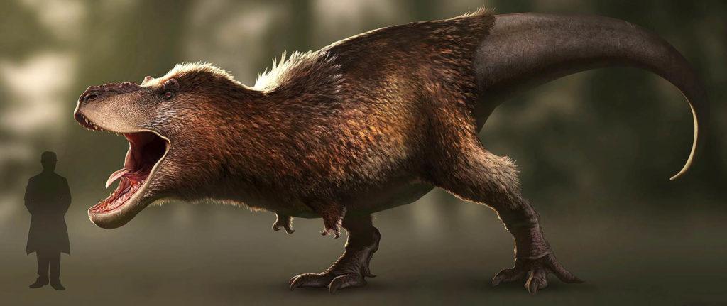 Реконструкция внешнего облика тираннозавра, показывающая наличие перьев и губ