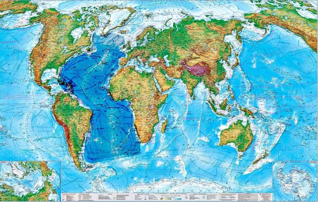 Атлантический океан на карте