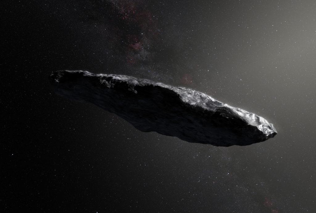 1I/Оумуамуa — первый обнаруженный межзвёздный объект, пролетающий через Солнечную систему (в представлении художника)