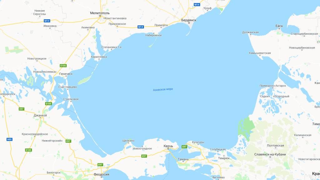 Азовское море на карте