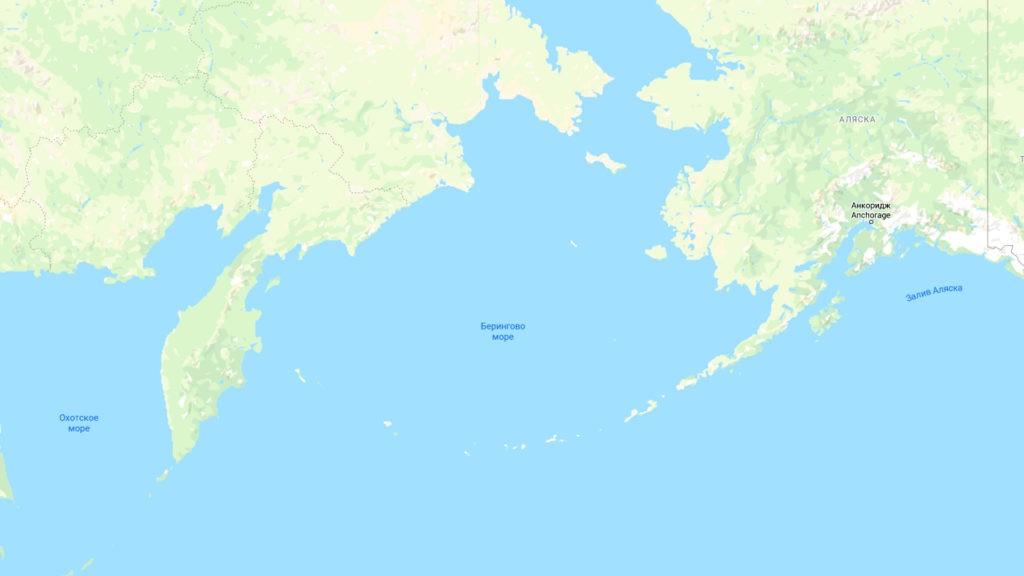 Берингово море на карте