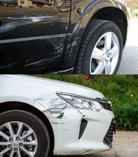 Царапины на черной и белой машине