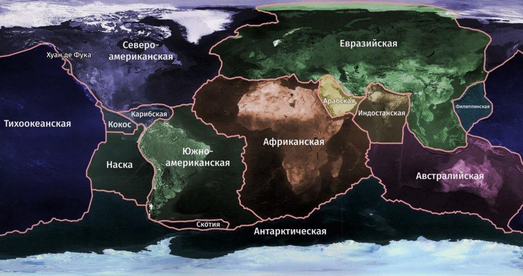 Схема тектонических плит Земли