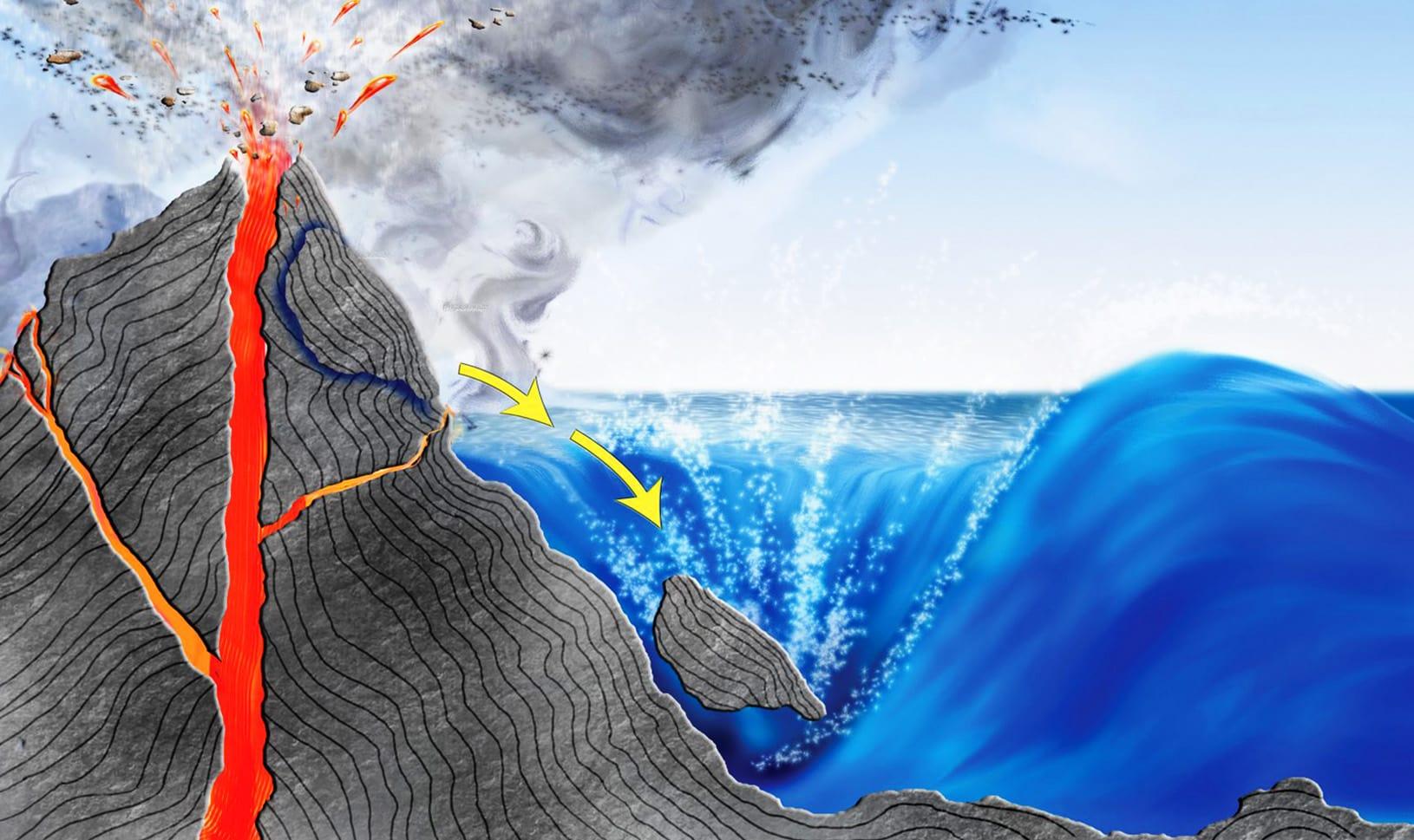 Цунами, вызванное извержением вулкана и оползнем