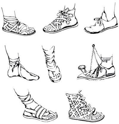 древнегреческие сандалии рисунок справа