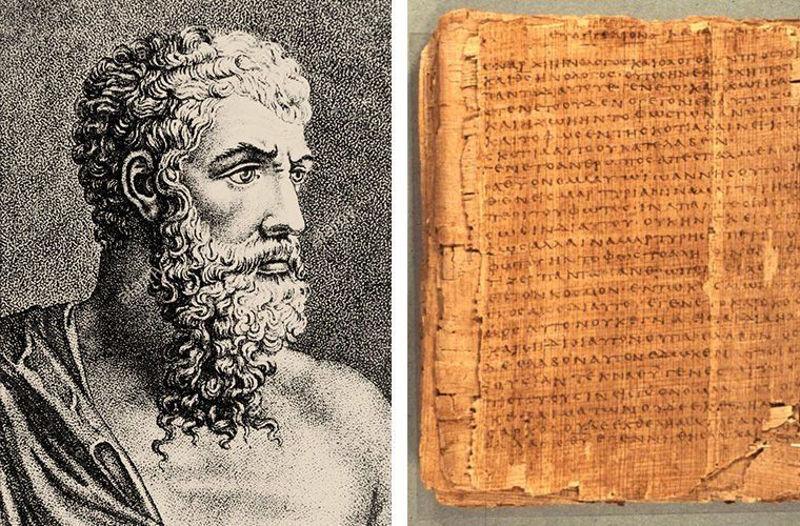 Аристотель / Древнегреческое письмо на папирусе