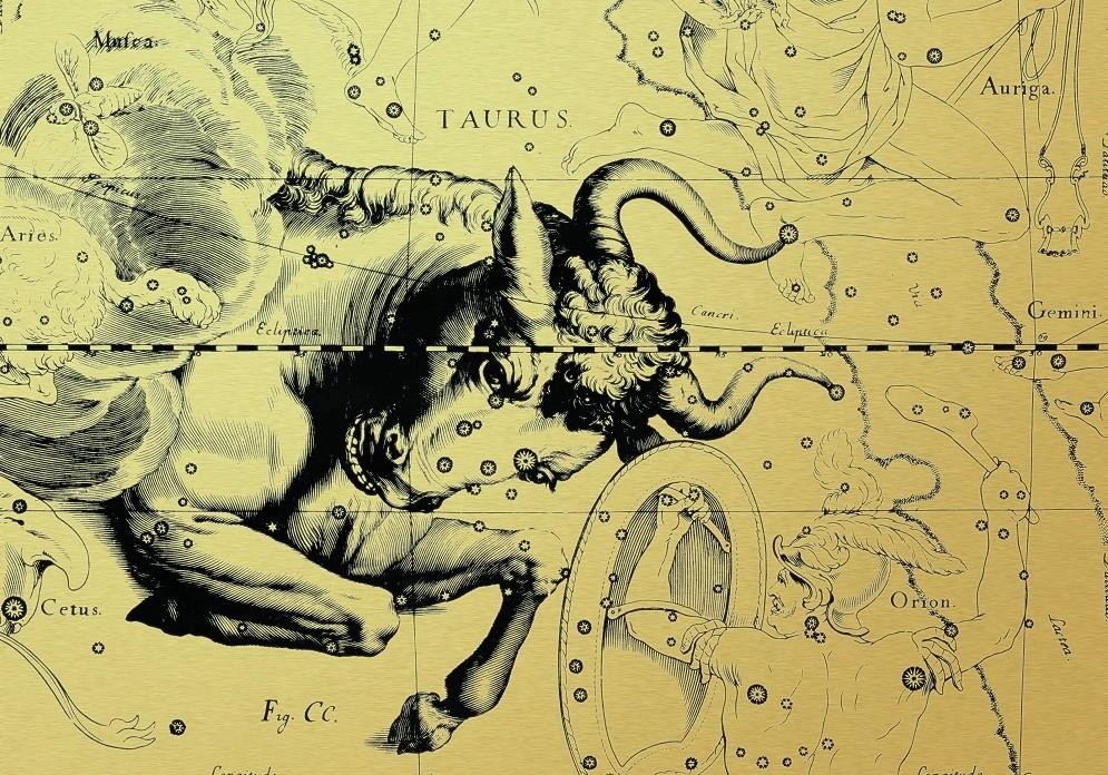 Копия древнегреческой звездной карты с названиями созвездий