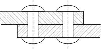 Двухрядное заклёпочное соединение внахлёстку (внакрой)