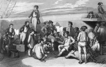 Французские моряки в рабочих фуражных шапках уже без козырька и с красно-синим околышем, напоминающем околыши шотландских шапок (ок. 1830 г.)