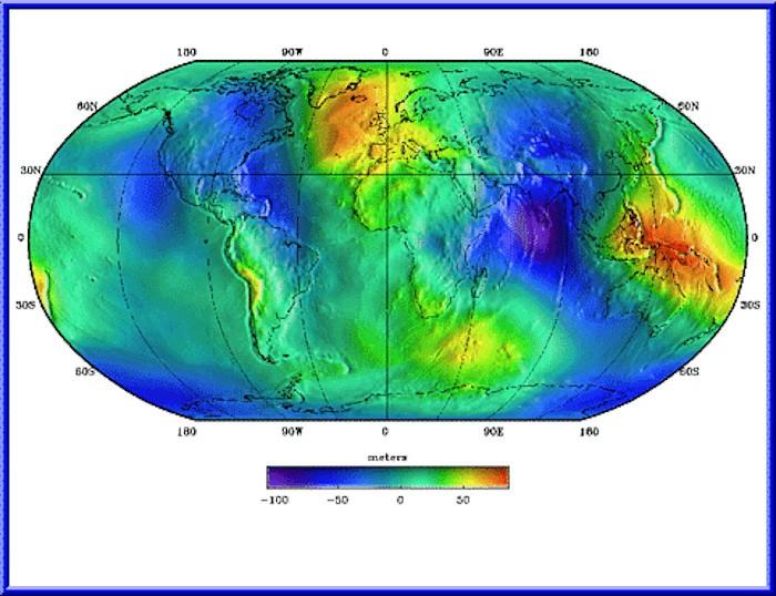 Отклонения геоида (модели EGM96) от идеализированной фигуры Земли (эллипсоида WGS 84). Видно, что поверхность океана расходится с эллипсоидом: например, на севере Индийского океана она понижена на ~100 метров, а на западе Тихого — поднята на ~80 метров.