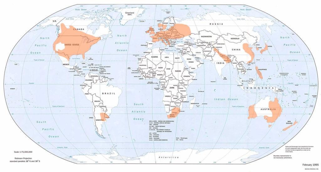 Карта возникновения смерчей, торнадо
