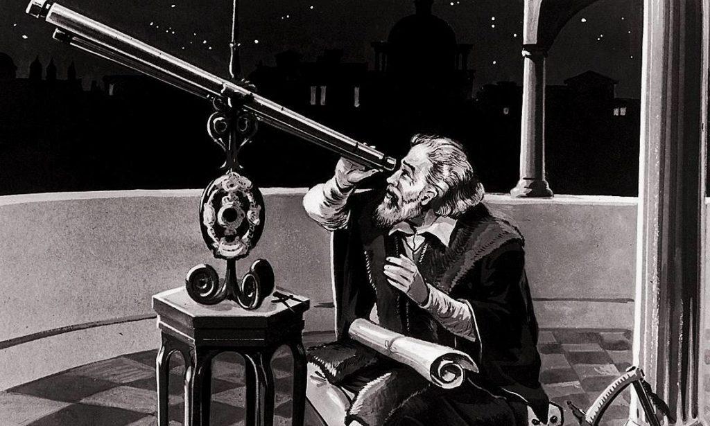 Галилей смотрит в телескоп собственного изобретения