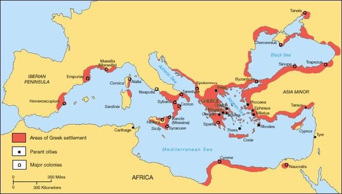 Греческие территории и колонии периода Архаики.