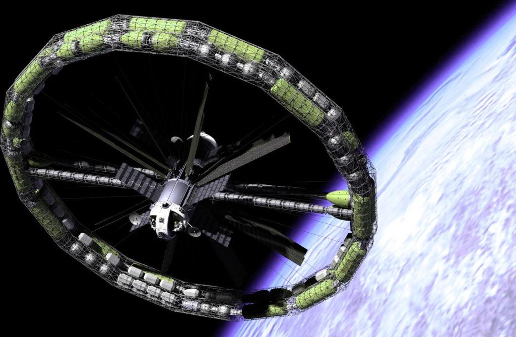 Модель корабля, в котором гравитация создается за счет вращения модулей