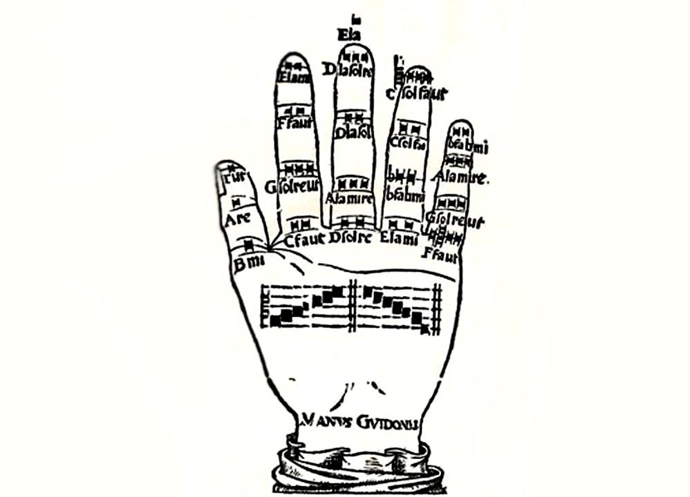 Аретинский руководил хором при помощи левой руки