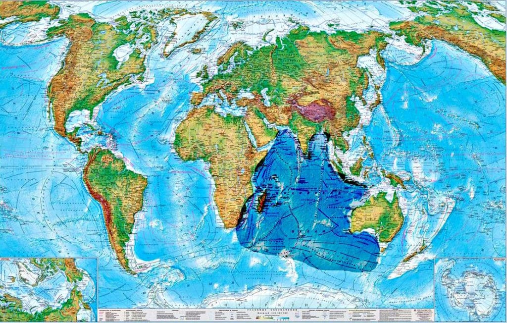Индийский океан на карте
