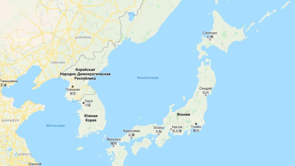 Японское море на карте