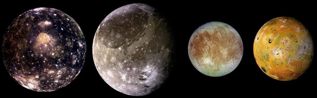 Галилеевские спутники Юпитера: Каллисто, Ганимед, Европа, Ио