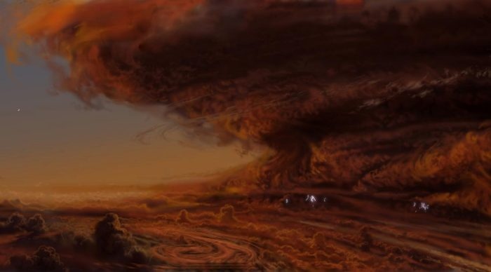 Художественное изображение урагана на Юпитере