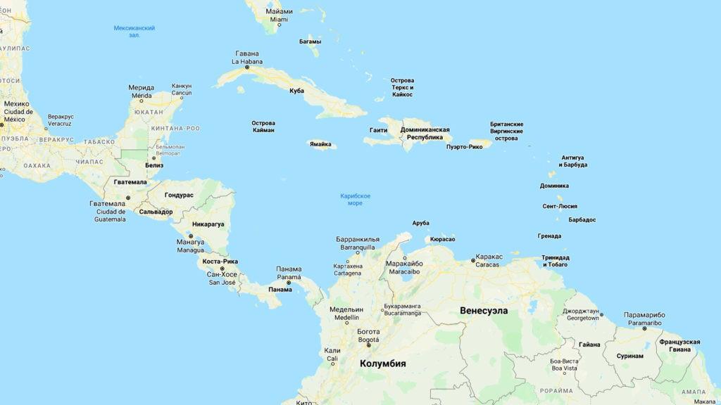Карибское море на карте