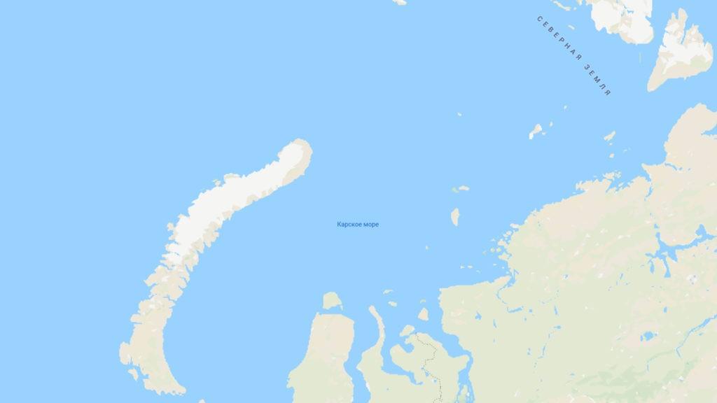 Карское море на карте