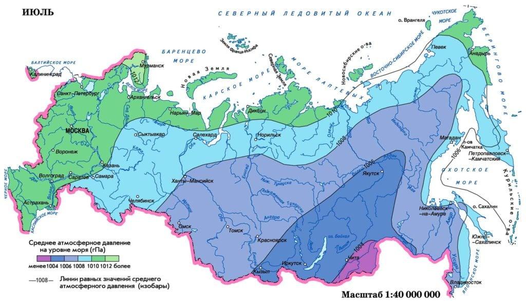 Карта атмосферного давления России