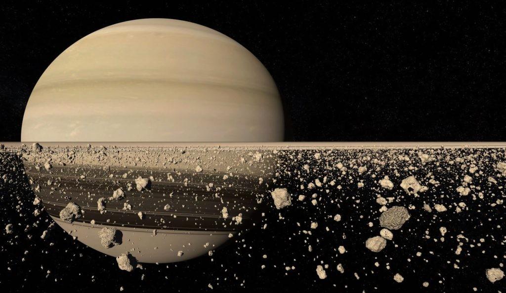 Модель колец Сатурна крупным планом