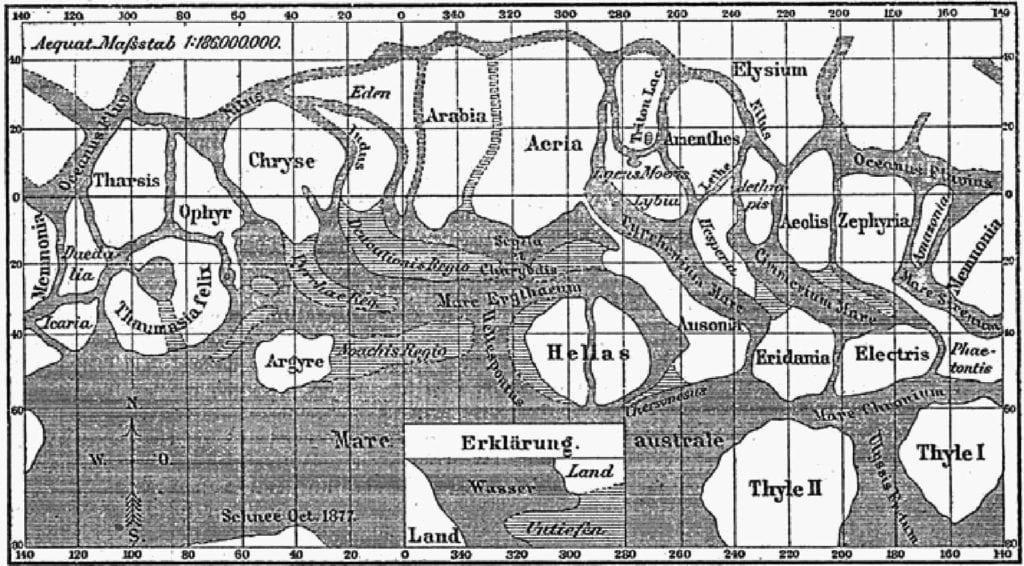Карта Марса Джованни Скиапарелли, 1877.