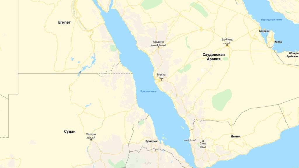 Красное море на карте