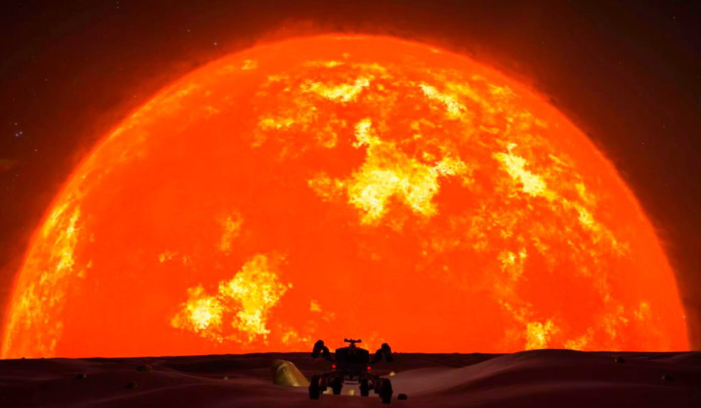 Пример того, как будет выглядеть Солнце с Земли, когда станет красным гигантом