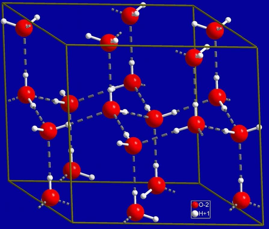 Кристаллическая структура льда. Серыми пунктирными линиями показаны водородные связи.