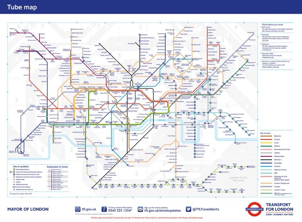 Карта метро Лондона
