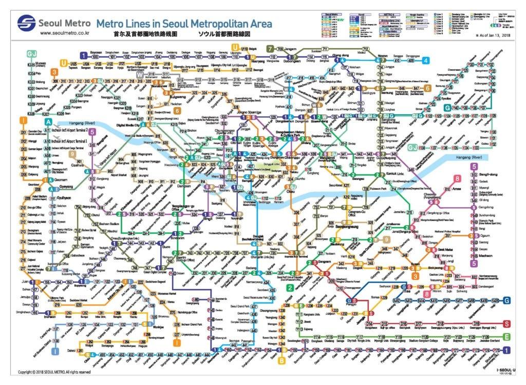 Карта метро Сеула
