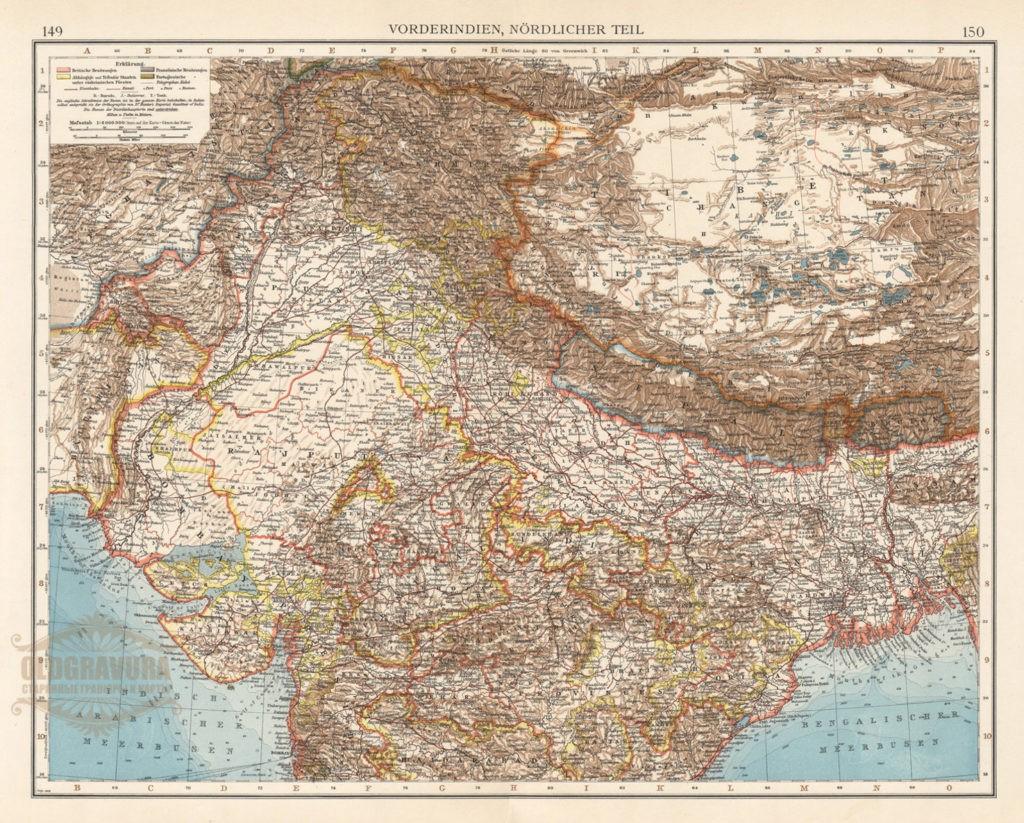 1906 год, большая старинная карта Индии и Тибета