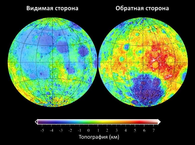 Топография Луны, высота поверхности относительно лунного геоида. Видимая с Земли сторона — слева