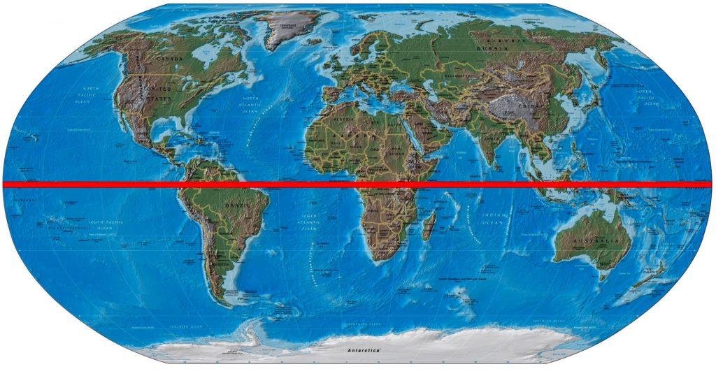 Карта мира с линией экватора