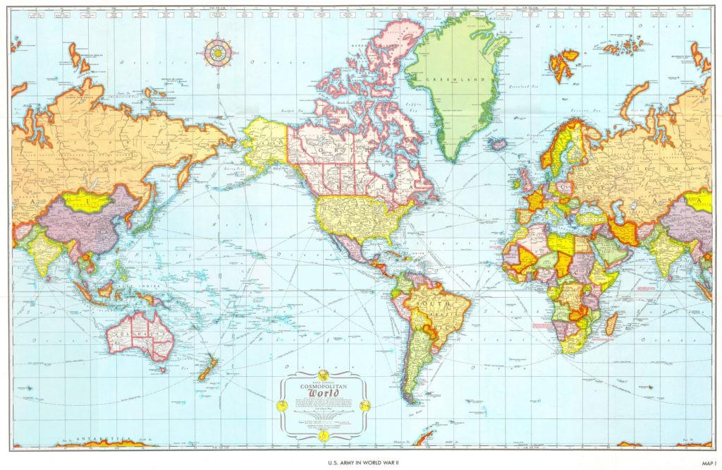 Карта мира для США