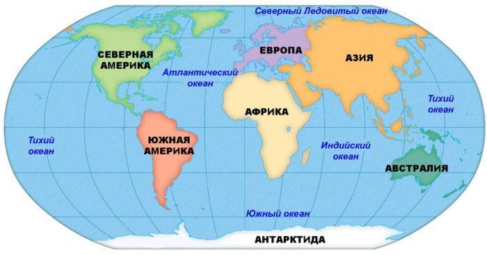 Карта океанов и континентов мира