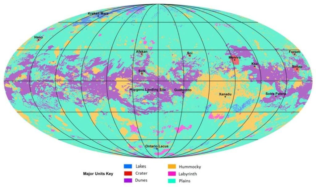 Карта планеты Титан. Цветами на карте обозначены: синим — озера; красным — кратеры; фиолетовым — дюны; желтым — холмы; маджентой — каньонные лабиринты; зеленым — равнины