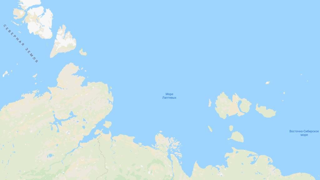 Море Лаптевых на карте