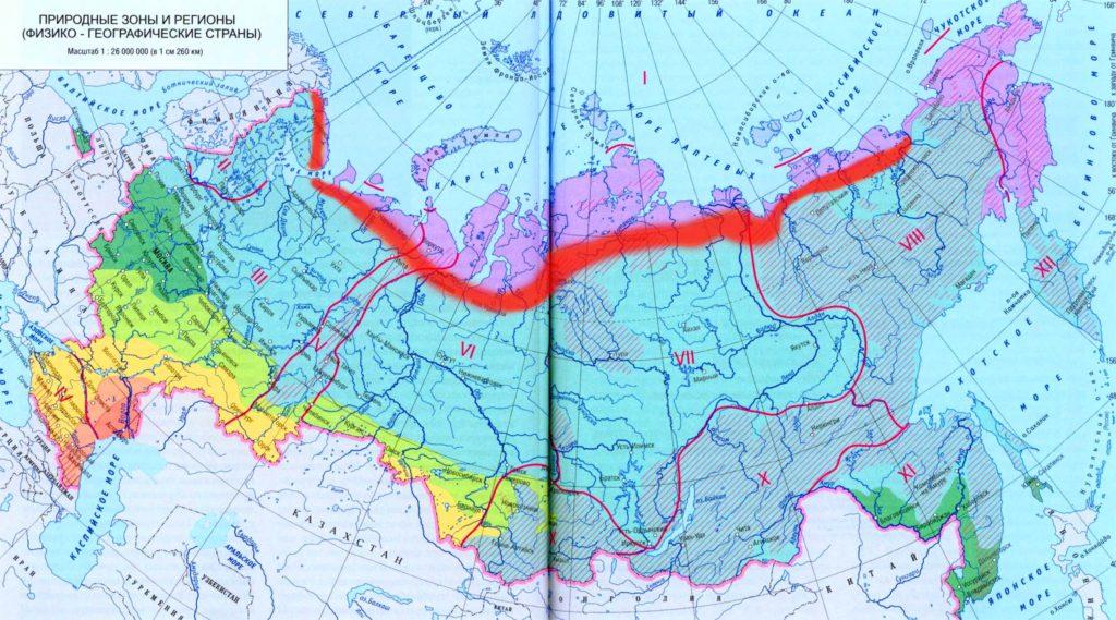 Лесотундра на карте