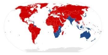 Страны с правосторонним и с левосторонним движением