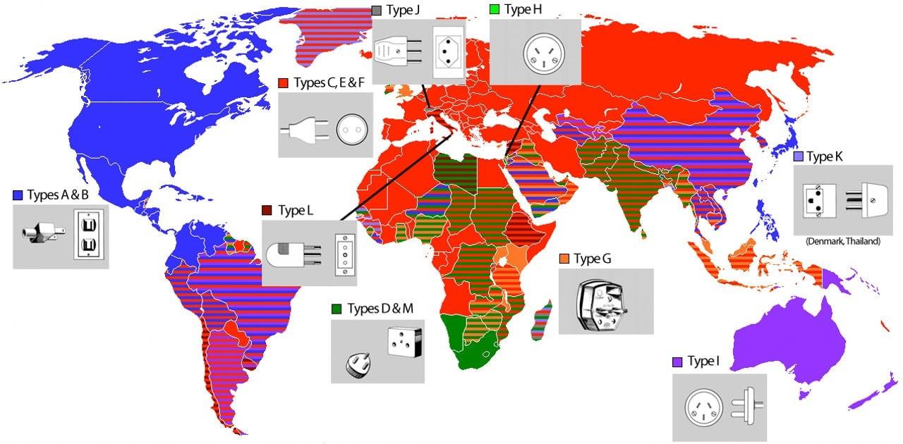 Карта стран: типы розеток и вилок