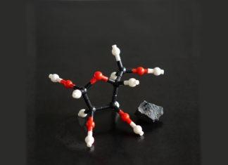 Модель молекулы рибозы рядом с кусочком астероида Murchison