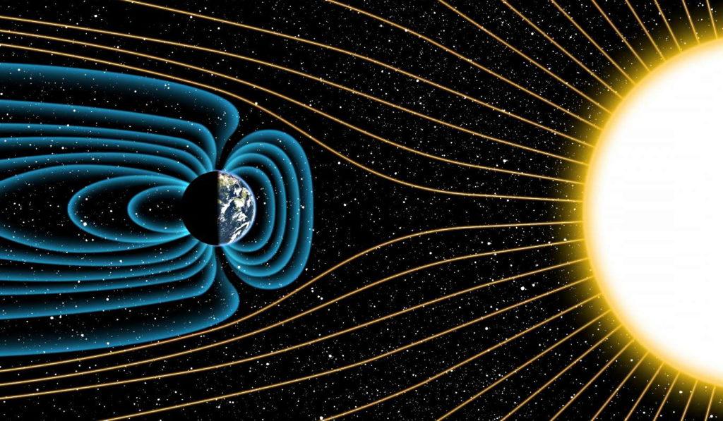 Схема магнитного поля Земли и его взаимодействие с Солнцем