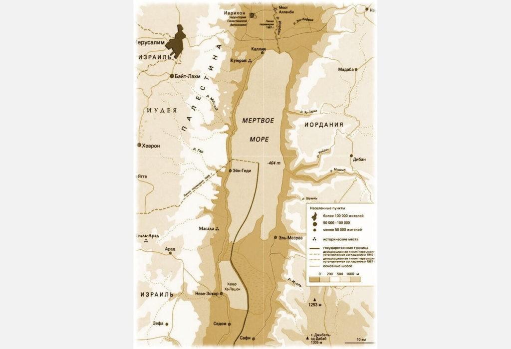 Мёртвое море на карте