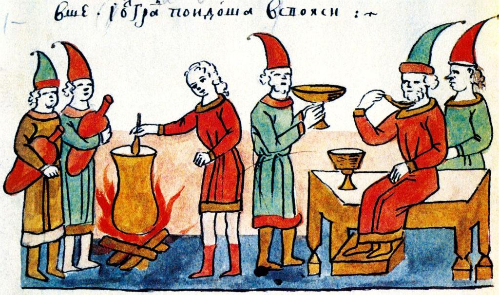 Оборона Белгорода: кисель из колодца. Миниатюра Радзивиловской летописи