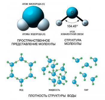 Молекула воды в различных агрегатных состояниях
