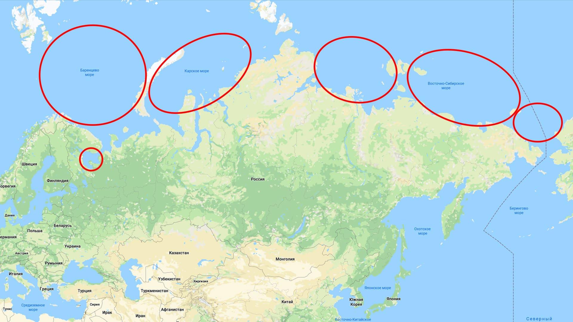 Моря Северного Ледовитого океана, омывающие Россию